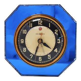1930s Telechron Art Deco Blue Mirror Clock