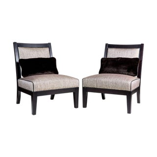 Custom Transitional Armless Chairs - A Pair