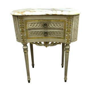 Antique French Carved Wood & Marble Top Commode