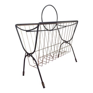 Vintage Greta Grossman Style Black Iron Magazine Rack W/Circle
