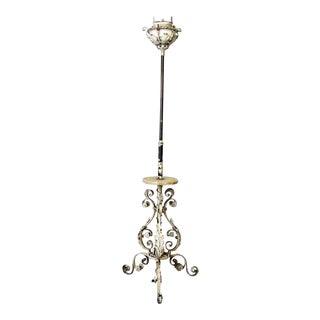 White Floral Iron & Onyx Floor Lamp