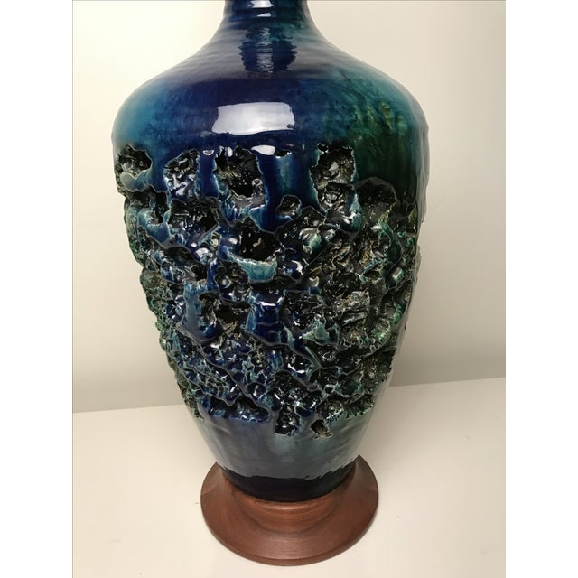 Image of Blue Glazed Textural Danish Pottery Lamp