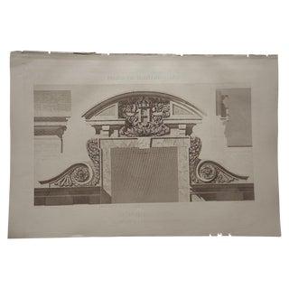 Antique Sepia Architectural Engraving