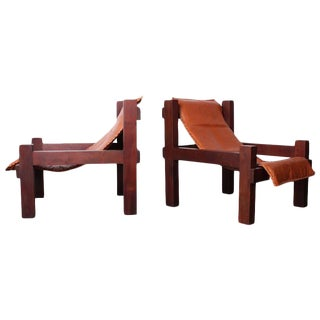 Pair of Large Leather Sling Chairs