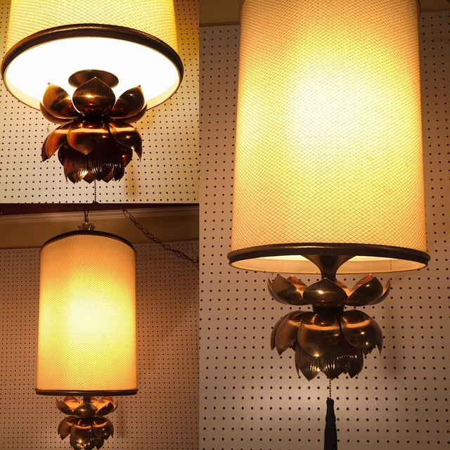 Feldman Brass Lotus Flower Hanging Drum Lamp - Image 7 of 8