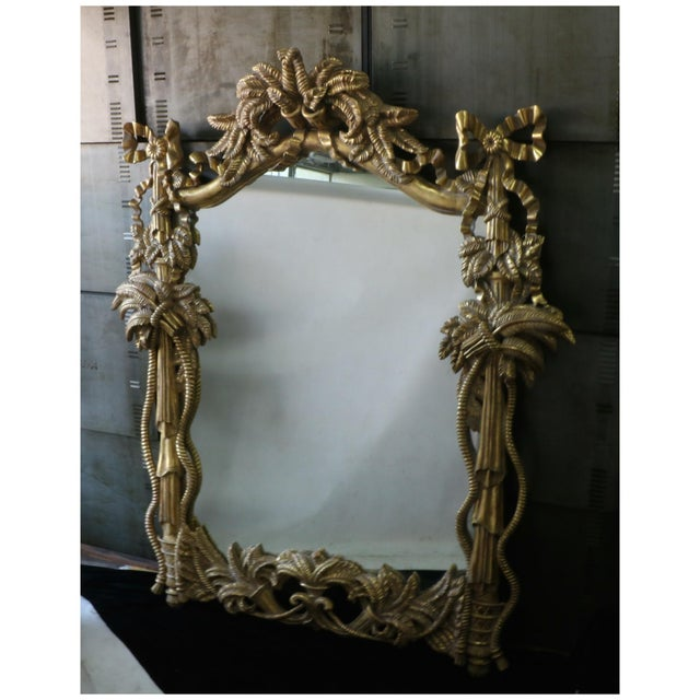 Gold leaf carved tall mirror chairish for Tall gold mirror