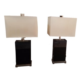 Art Deco Inspired Black & Ivory Table Lamps - A Pair