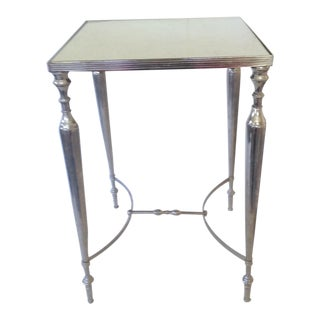 Mirror Topped Silver Side Table
