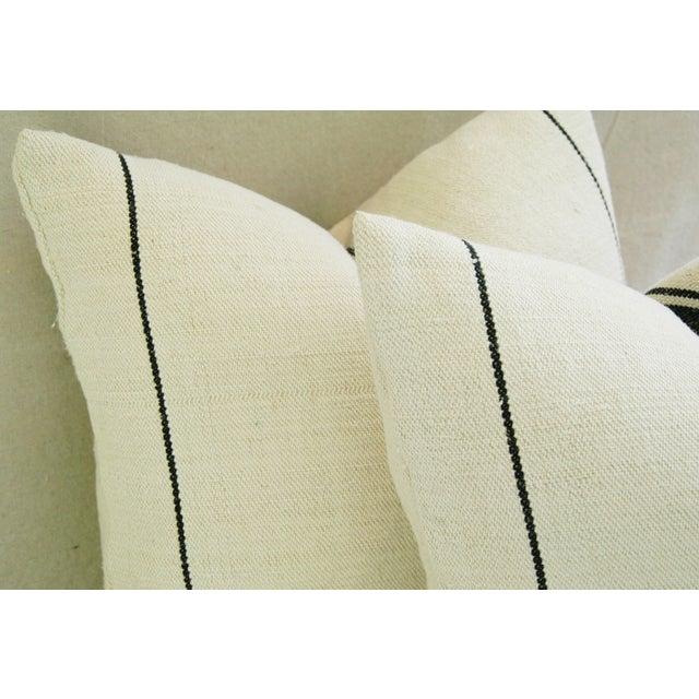 French Black Stripe Grain Sack Pillows - Pair - Image 7 of 8