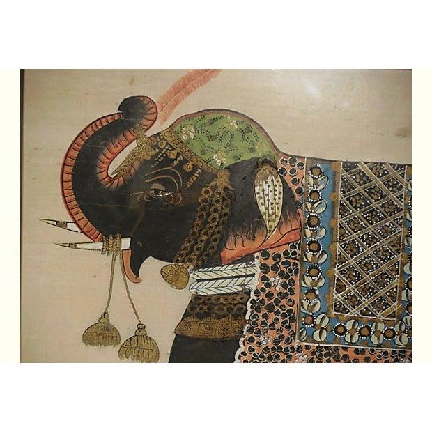 Indian Elephant Painting on Silk - Image 5 of 7