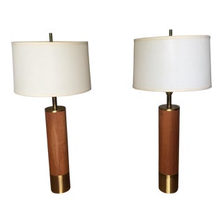 Mid-Century Brass & Wood Overlay Lamps- A Pair