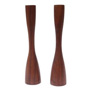 Vintage Weighted Koa Wood Candlesticks - A Pair