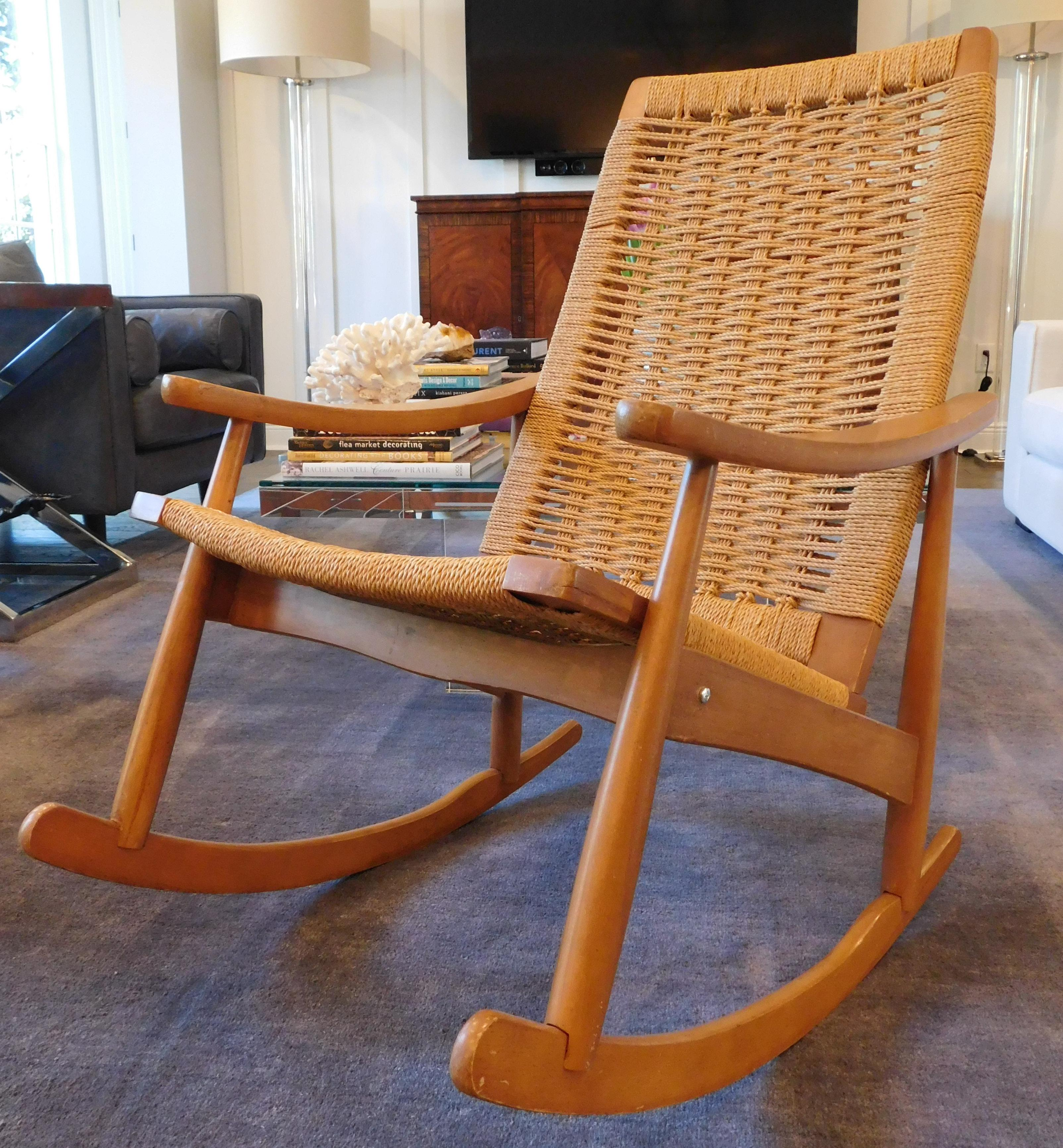 image of vintage yugoslavian hans wegner style wicker rocking chair - Wicker Rocking Chair