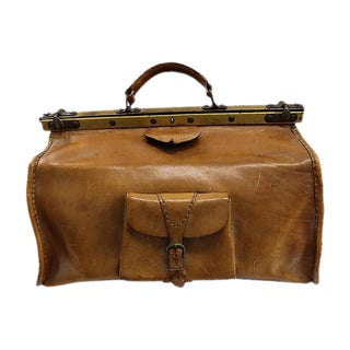 Antique French Leather Travel Bag