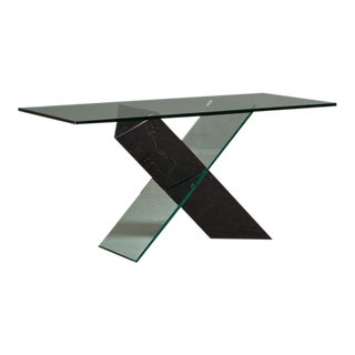 A Black Stone and Glass Console Table designed by Reflex 1980s