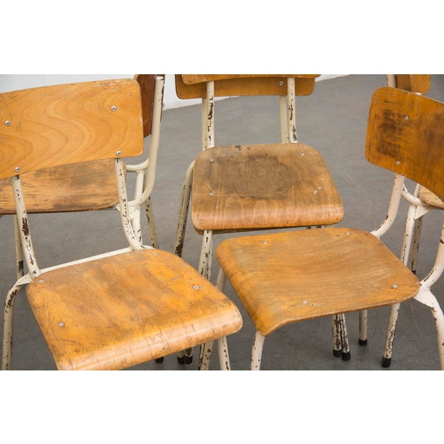 Industrial Plywood Stacking School Chairs - Image 3 of 11