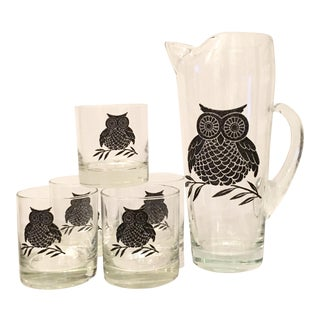 Mid-Century Modern Glass Owl Drinks - Set of 6