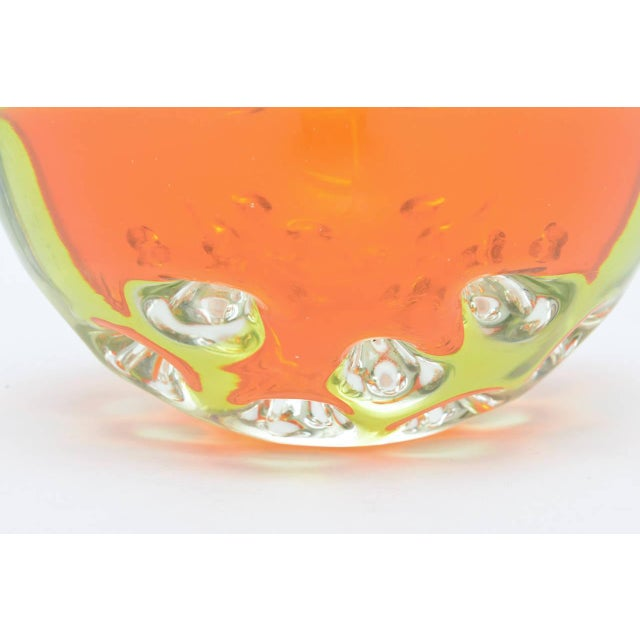 Image of Rare Italian Murano Sommerso Dimpled Geode Glass Bowl