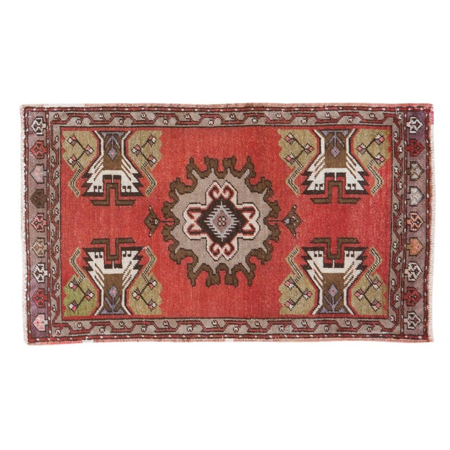 "Vintage Oushak Red Rug Mat - 1'7"" X 2'8"" - Image 1 of 7"