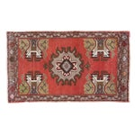 "Image of Vintage Oushak Red Rug Mat - 1'7"" X 2'8"""