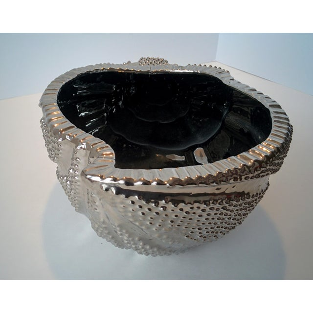 Image of Silver Electroplate Shell - Wentletrap Seashell - Ceramic Decorative Bowl