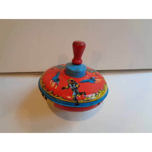 Metal & Wood Spinning Top, 1960s Space Theme - Image 2 of 5