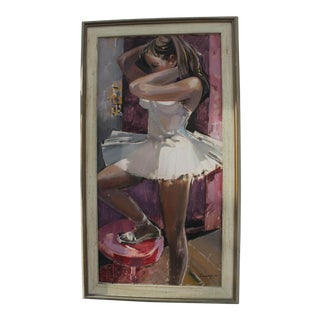 1963 Female Ballet Dancer Painting by F. Gorado