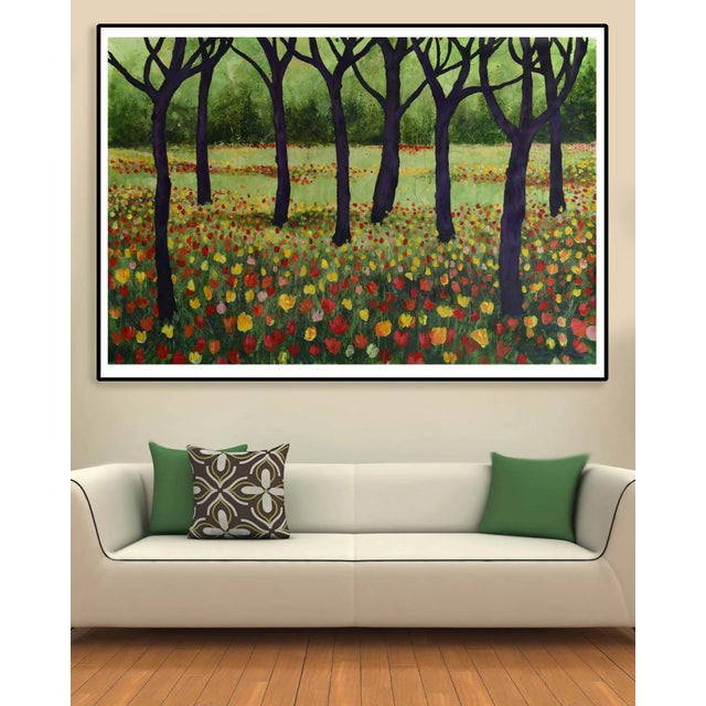 """Trees and Tulips"" Acrylic Painting - Image 3 of 7"