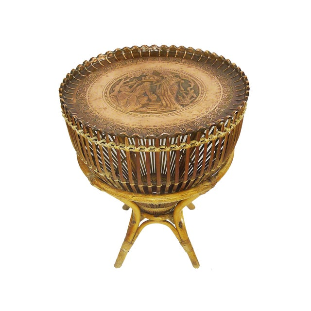 Vintage Bamboo Copper Tray Table - Image 2 of 6