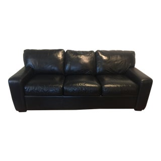 American Leather Brand Black Leather Sofa