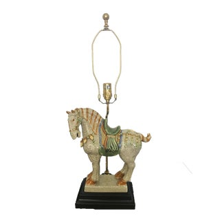Chinoiserie Asian Style Ceramic War Horse Table Lamp