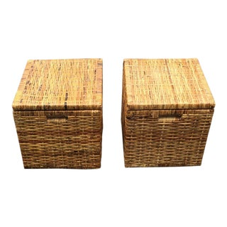 Mid-Century Woven Storage Cubes - A Pair