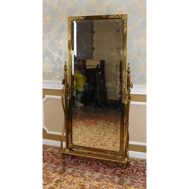 Antique Victorian Brass Regency Style Cheval Mirror On
