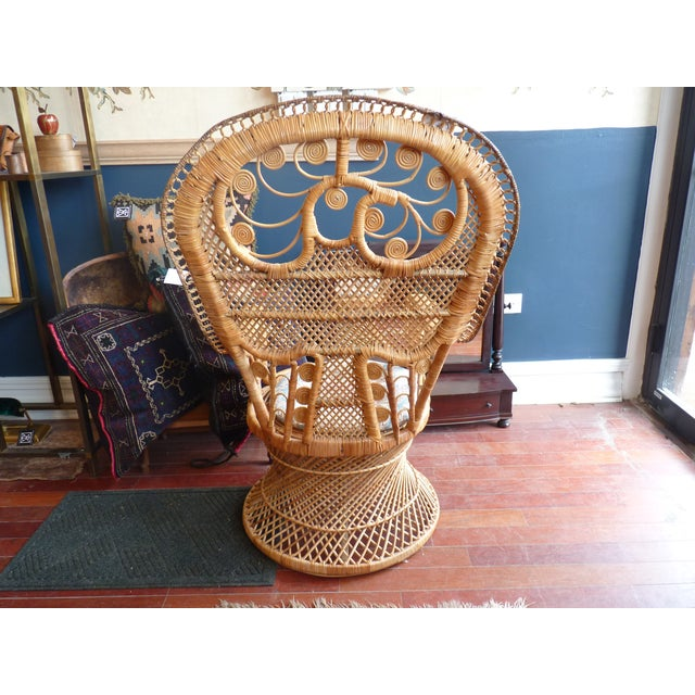 Curly Wicker Throne Chair - Image 6 of 9