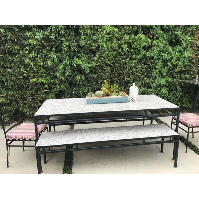 Image of Iron & Mosaic Tile Dining Set - Set of 5