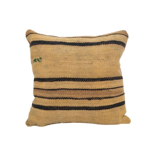 Vintage Hemp & Wool Striped Kilim Pillow - Image 1 of 5
