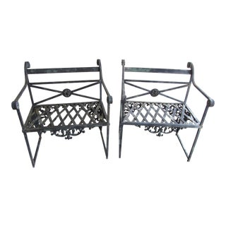 Antique French Scroll Iron Garden Benches - A Pair