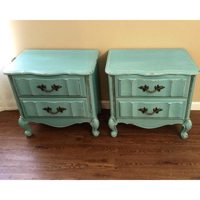 Mint Blue French Provence Nightstands - A Pair - Image 2 of 11