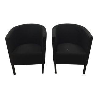 Moroso Black Italian Barrel Back Chairs - A Pair