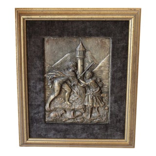 Antique Repousse Shepherd Scene Plaque