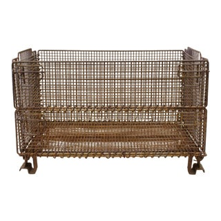 Large Original American Industrial Collapsible Wire Baskets
