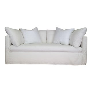 Custom Designer White Linen Slipcovered Sofa