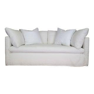 Custom Designer White Linen Slipcovered Sofa