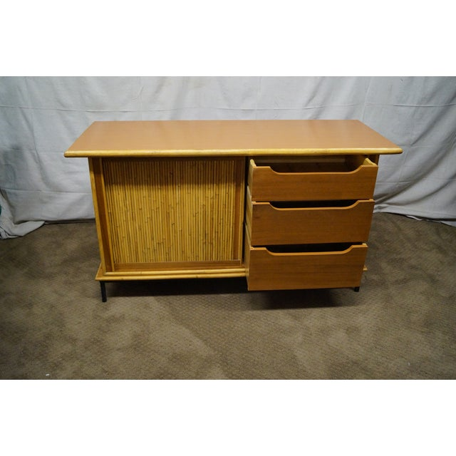 Image of Mid-Century Bamboo Rattan Sideboard Credenza