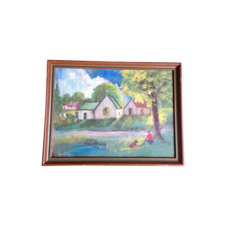 Vintage Oil on Canvas Board Pastoral Scene