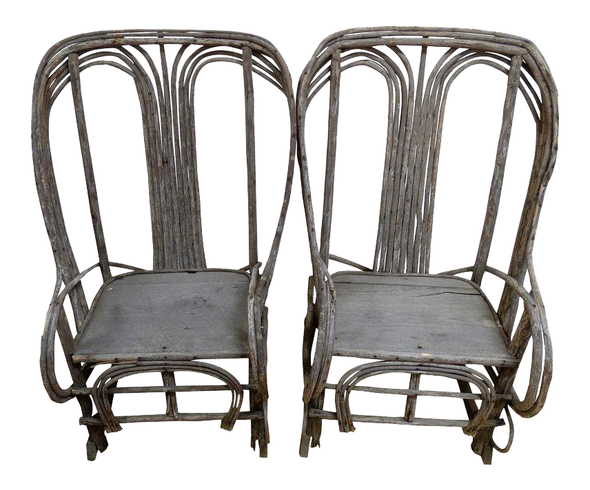 rustic twig rocking chairs pair