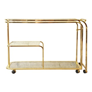 Milo Baughman for Dia Expandable Brass and Glass Bar Cart