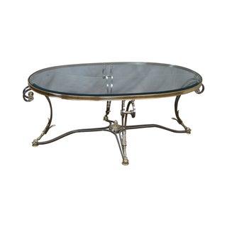 LaBarge Regency Brushed Steel & Brass Coffee Table