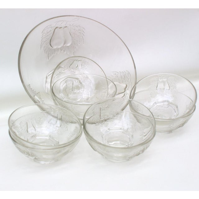 1930's Indiana Glass Pear Dessert Berry Bowls Set - Image 5 of 8