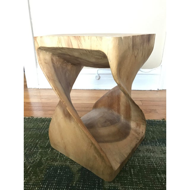 Twisting Natural Wood Stool - Image 2 of 5